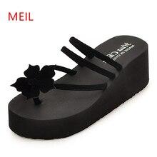 купить Platform Wedge Shoes Flower Flip Flops Women Slippers Summer 2019 New Non-slip Sandals Women Slipper Beach Shoes Sexy High Heel дешево