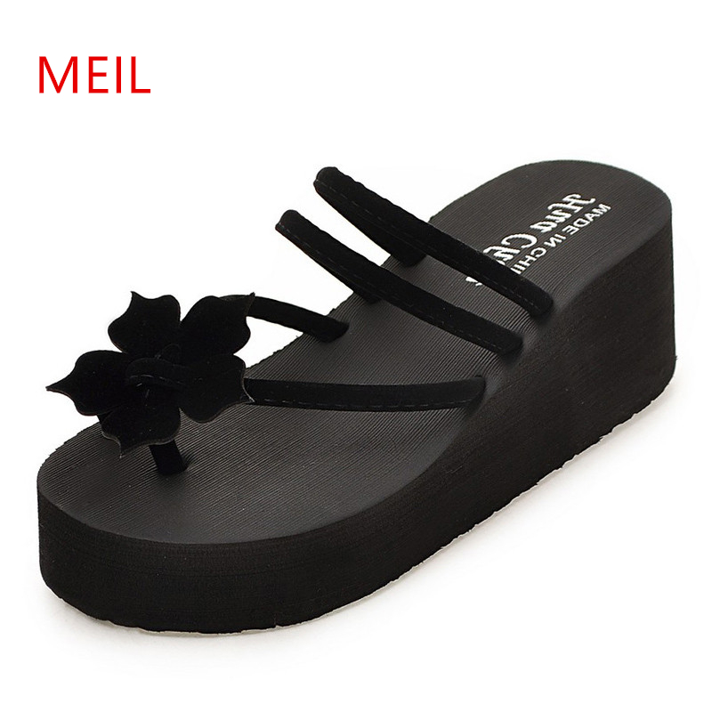 Platform <font><b>Wedge</b></font> <font><b>Shoes</b></font> Flower Flip Flops <font><b>Women</b></font> <font><b>Slippers</b></font> Summer 2019 New Non-slip Sandals <font><b>Women</b></font> <font><b>Slipper</b></font> Beach <font><b>Shoes</b></font> <font><b>Sexy</b></font> <font><b>High</b></font> <font><b>Heel</b></font> image
