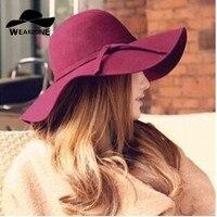 NEW 2015 Style Soft Women Vintage Wide Brim Wool Felt Bowler Fedora Hat Floppy Cloche Women