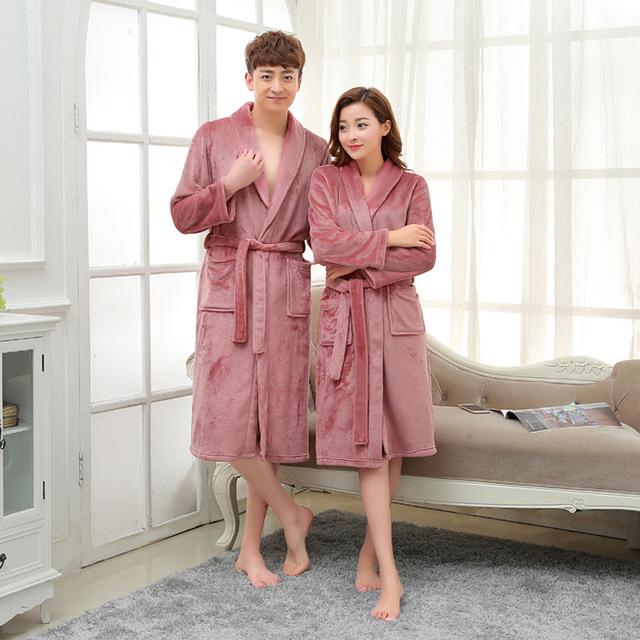 Hot Outono Inverno Roupão Espessamento Casa Casal Pijama de Cashmere Coral Manter Quente Pijamas de Flanela Amantes Roupões de Banho Das Mulheres Dos Homens