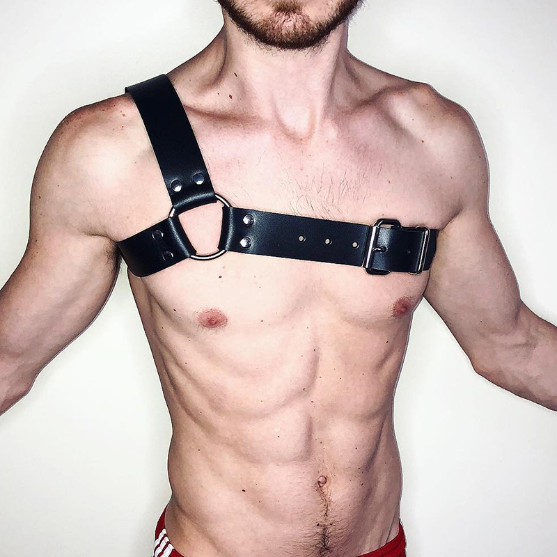 Sexy Body Chest Harness Men Adjustable Bondage Costume Black PU Leather Belts Chest Strap Sexy Erotic Linger Suspenders