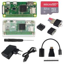 Raspberry Pi Zero W стартовый комплект + акриловый чехол + 2A блок питания + вкл/выкл USB кабель + 16 32 ГБ SD карта + HDMI кабель + охлаждающая плита