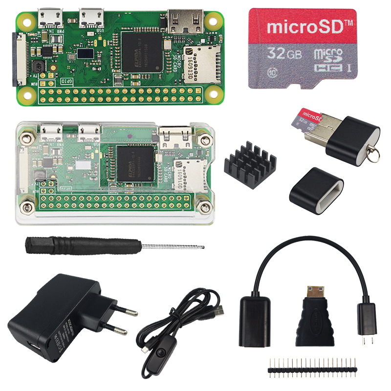 Raspberry Pi Zero W Starter Kit + Acrylic Case + 2A Power Supply + ON/OFF USB Cable + 16 32 GB SD Card + HDMI Cable + Heat Sinks
