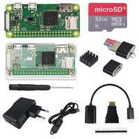 Raspberry Pi Zero W Kit de démarrage + boîtier acrylique + alimentation 2A + câble USB marche/arrêt + carte SD 16 32 go + câble HDMI + dissipateurs de chaleur
