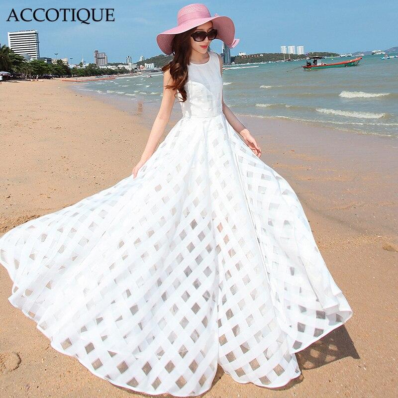 Extra Long 2017 New Summer Female Plaid Slim Solid Maxi Dress Women s Plus Size White