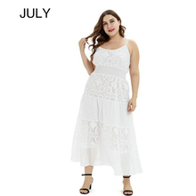 JULY Summer dress large  plus size 3XL 2XL women elegant dresses white black lace hollow out bohemian sexy party