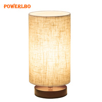 Table Lamp, Dimmable Bedside Desk Lamps, Nightstand Lamp with Linen Fabric Shade for Bedroom, Living Room ,Cylinder shade