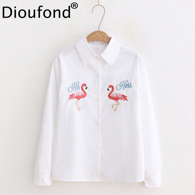Dioufond Повседневное кран Рубашки с вышивкой Для женщин животных с длинным рукавом Blusa feminina хлопок отложной воротник женский рубашка 2018 блузка
