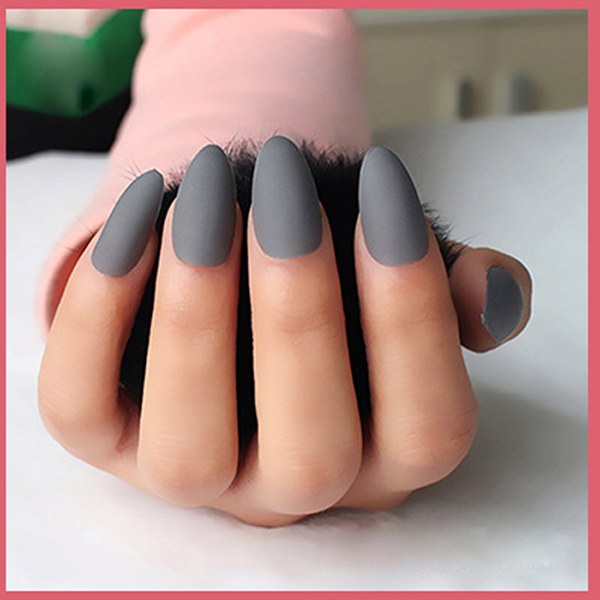 24pcs Set Matte Designed Acrylic Nails Almond Short Fake Art Full Cover Siletto Uv Gel Soft Grey False Nail Tips In From Beauty