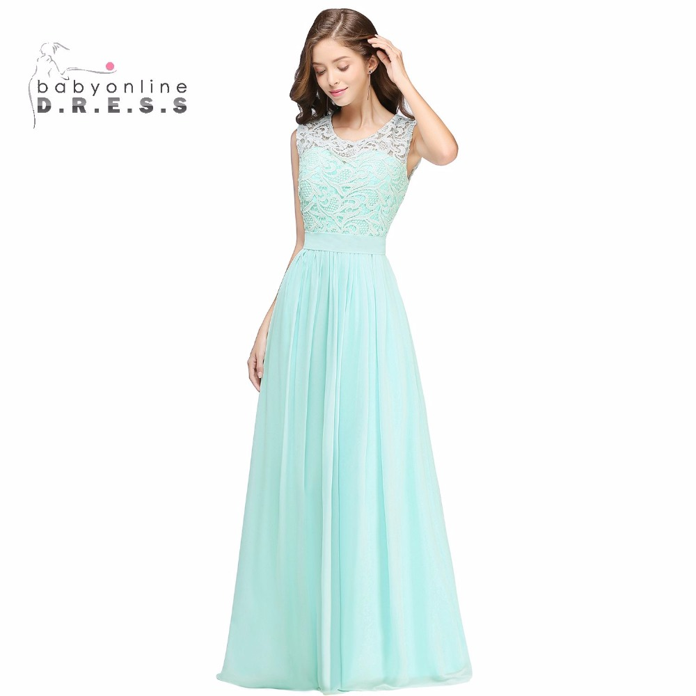 Country lace bridesmaid dress reviews online shopping country elegant long country style lace mint green bridesmaid dresses 2017 chiffon prom dresses wedding party dress ombrellifo Image collections