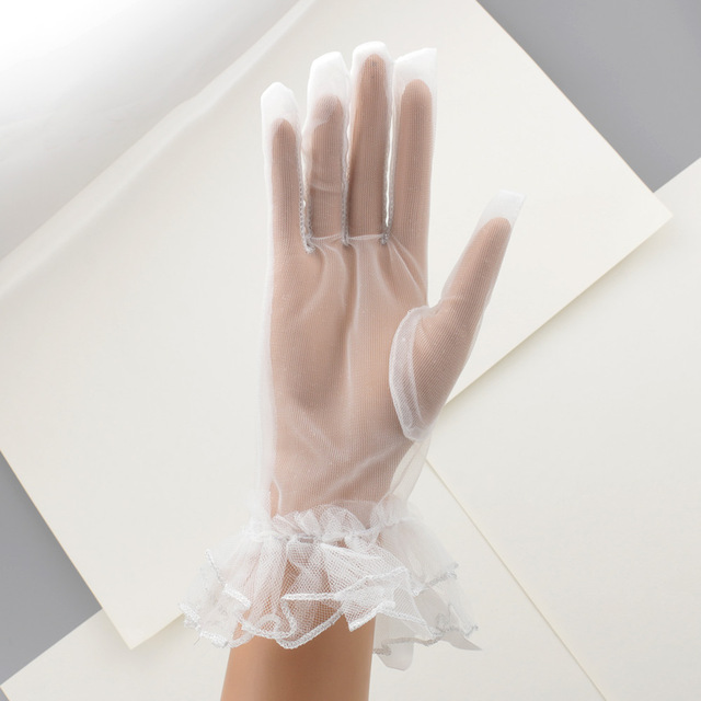 Women Lace Mesh Gloves Ladies White wrist gloves Large Bow Knot Marriage Glove Party Cosplay Accessories 5