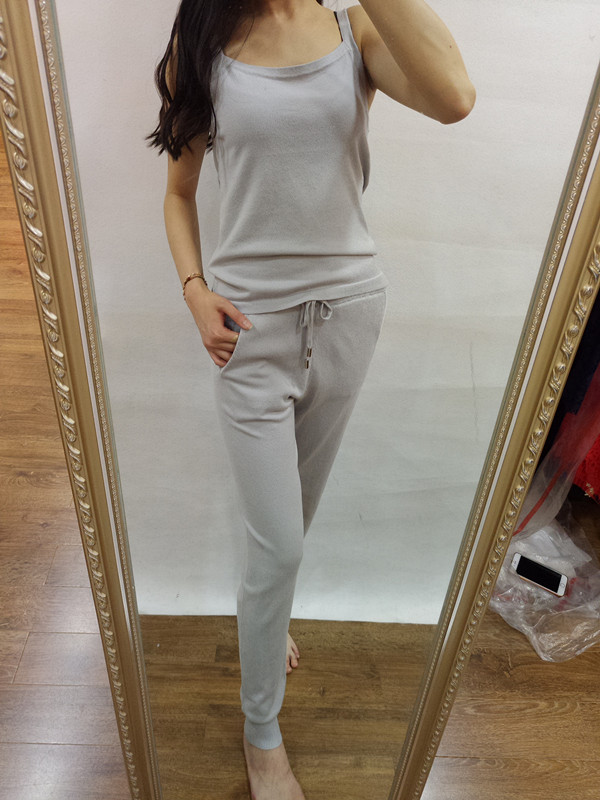 Tracksuits Cotton Top Fashion Europe And The 2017 Summer New Knit Suit Slim Casual Sling font