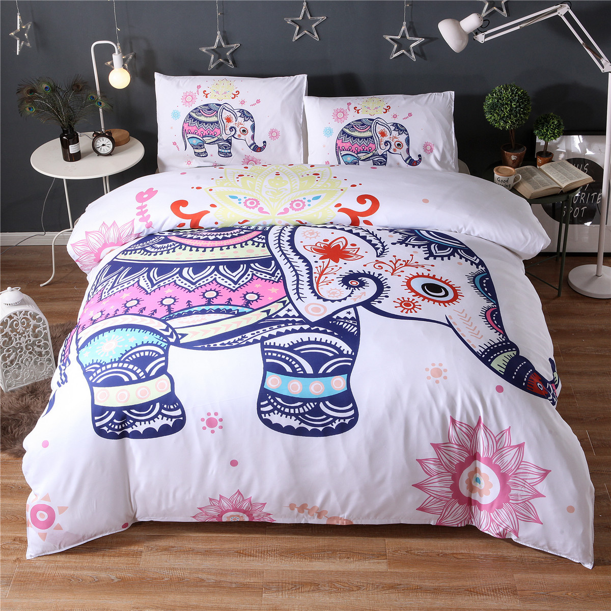 Bedding Set 3D Colorful Bohemian Print Duvet Cover And Pillowcase Indian Elephant Exotic Bedclothes Twin King Queen Size