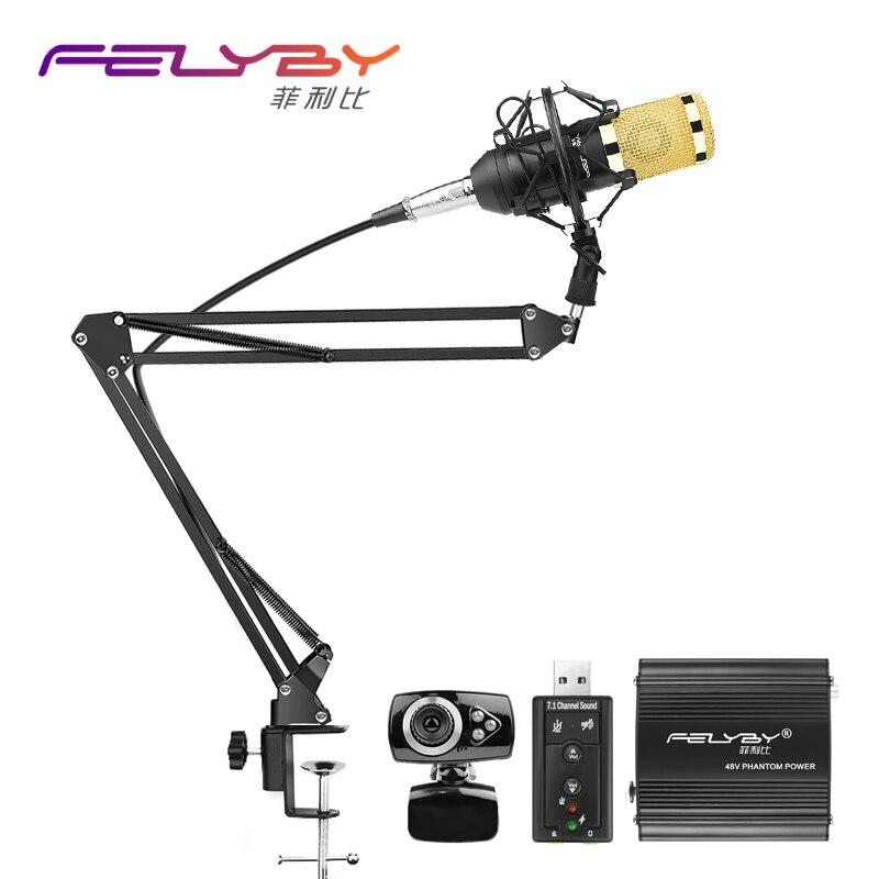 Professionnel microphone à condensateur BM 800 BM-800 microphone 48 v alimentation fantôme Usb carte son Webcam chat vidéo conférence