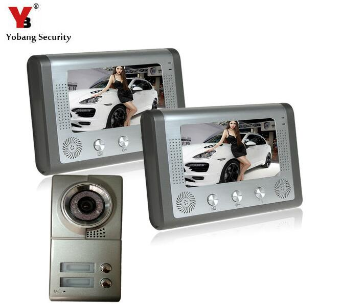 YobangSecurity 7 Inch Video Door Phone Doorbell Video Entry System Intercom Kit 1-camera 2-monitor Night Vision For 2 Apartment 7 inch video door phone doorbell intercom kit 1 camera 1 monitor