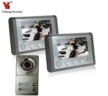 YobangSecurity 7 Inch Video Door Phone Doorbell Video Entry System Intercom Kit 1-camera 2-monitor Night Vision For 2 Apartment