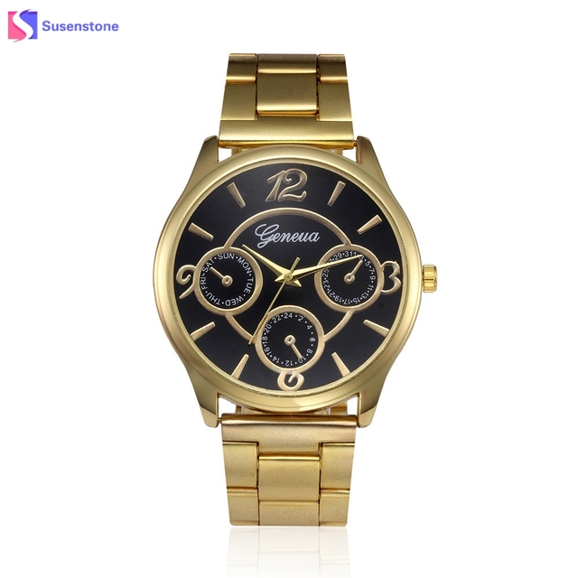 Fashion Man Women Geneva Watch Analog Quartz Stainless Steel Band Gold Wrist Wat