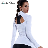 Women S Tight Compression Running Yoga Shirts Top Elasticity GYM Sports T Shirt Long Sleeve Hollow