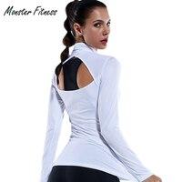 المرأة القمصان أعلى مرونة ضيق ضغط تشغيل اليوغا الصالة الرياضية القميص طويل الأكمام الجوف خارج الثقوب الإبهام ياقة معطف