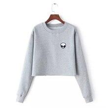 Aliens Printing Hoodies Sweatshirts Harajuku Crew Neck Short Women Clothes Tops Casual Plus Velvet Thicken Sweatshirt Pullovers