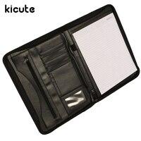 Kicute Executive Conference Folder PU Portfolio Zipped Leather Look Folder Document Organiser Document Holder Office Supplies