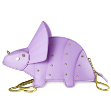 Купить с кэшбэком Personality Trend Rivets Dinosaur Shoulder Bag PU Leather women Chain Crossbody Messenger Bag Female Purse Quality Travel Bags
