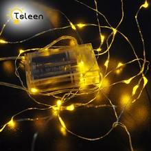 TSLEEN 5 3 2M AA Battery Operated LED String Light Silver Wire DC4.5V Fairy Lights Christmas New Year Wedding Decoration Lights