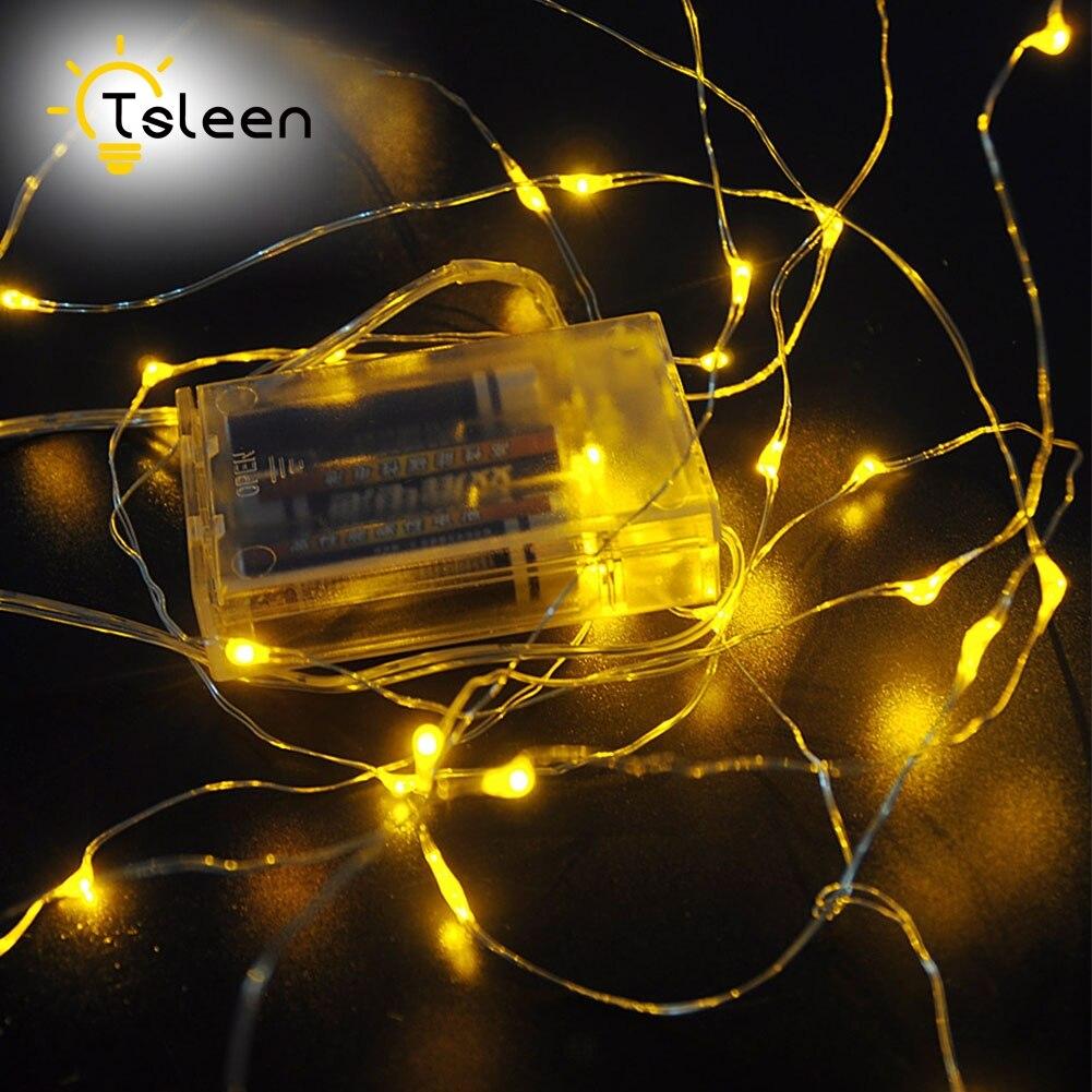 Tsleen 5 3 2 M Baterai Aa Dioperasikan Led Tali Ringan Perak Kabel Tiaria Classic Pearl Necklace Emas Mutiara 95mm Dc45v Peri Lampu Natal Tahun Baru Pernikahan Dekorasi