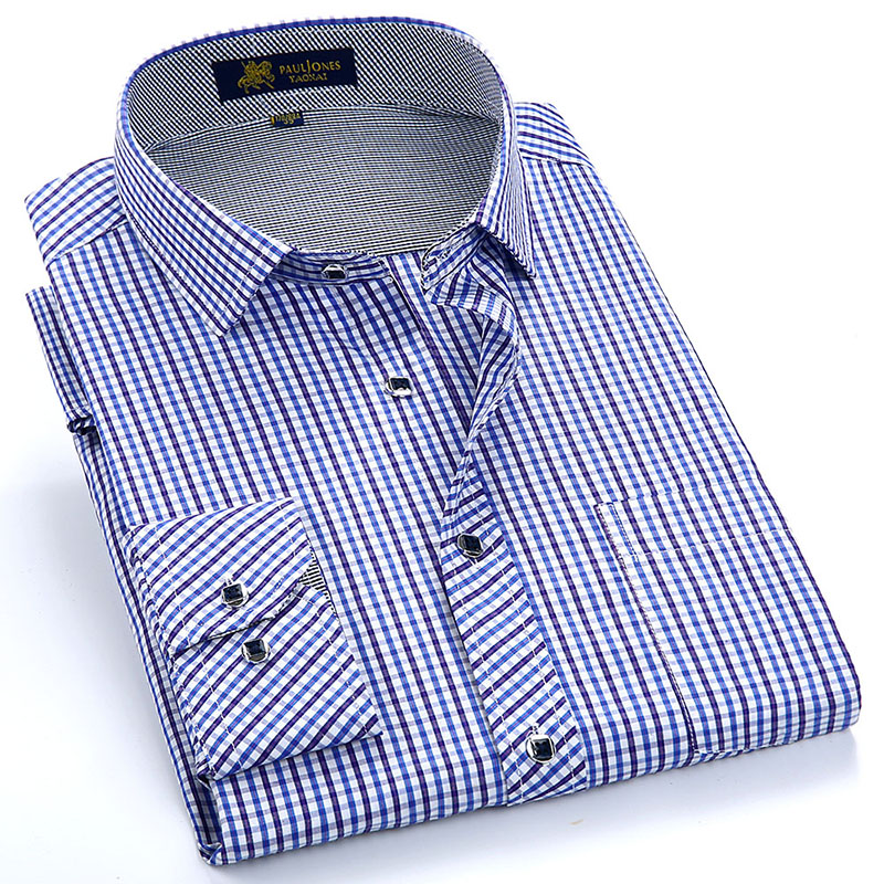 Men's Long-Sleeve Regular-fit Plaid Checkered Dress Shirts Single Patch Pocket  Button-up Thin Gingham Casual Blouse Tops Shirt