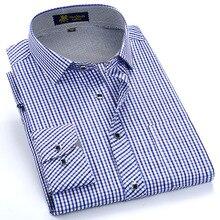 Moda męska z długim rękawem standardowy krój kraciaste koszule pojedynczy naszyta kieszeń cienki elegancki Casual bawełniany materiał w kratkę bluzka topy koszula