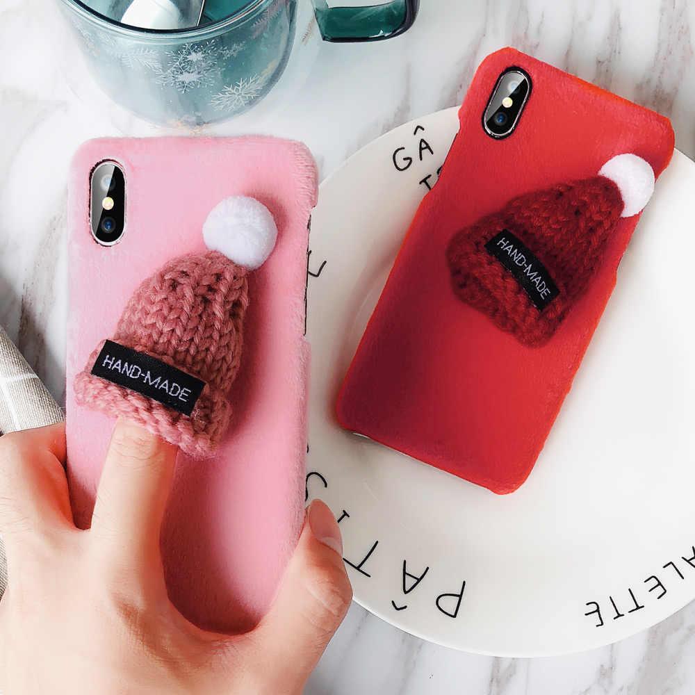 KISSCASE için Sevimli Telefon iPhone için kılıf 6 6 s 7 8 Artı Kılıfları Örme Tüylü Şapka Kapak Için iPhone X XS Max XR 5 s SE Sıcak Noel Çapa