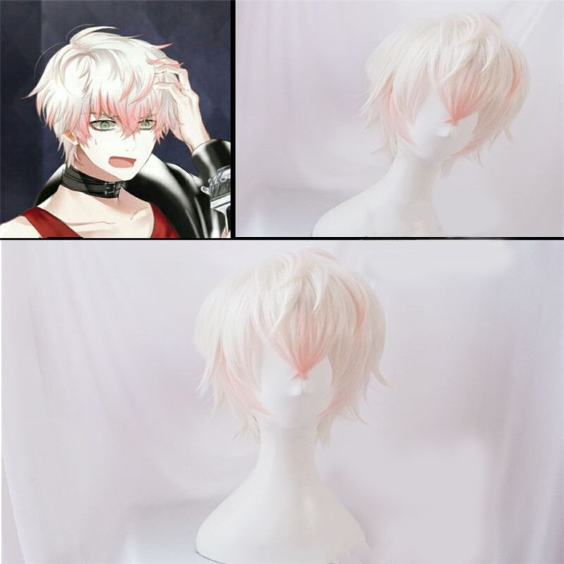 Mystic Messenger Cosplay Wigs Saeran Ray Wig Short White Mix Pink Heat Resistant Synthetic Hair Cosplay Wig + Wig Cap