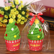 Merry Christmas Gift Cupcake Cotton Towel Natal Noel New Year Decoration