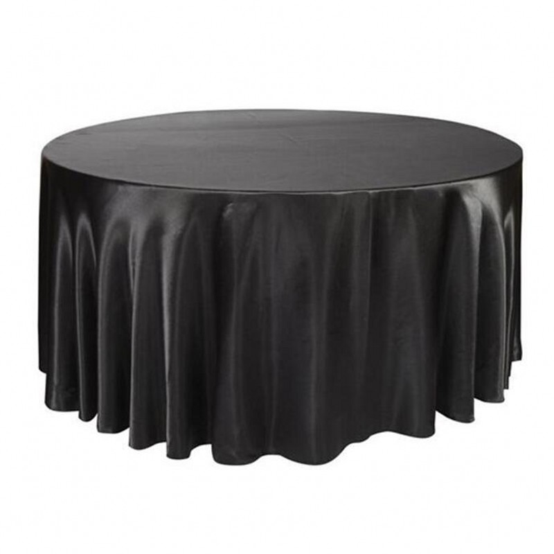 10pcs/Pack Black / White 120 Inch Round Satin Tablecloths Table Cover For  Wedding Party
