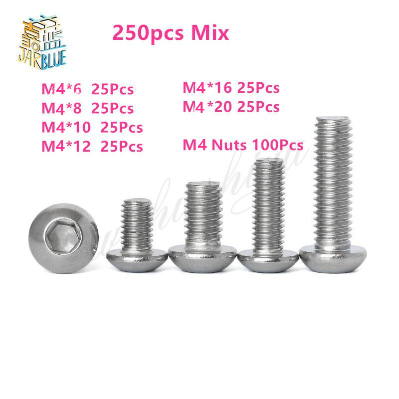 250pcs M4 Wood Screws Nuts Set Stainless Steel Bolts Hex Socket Screws With Nuts Assortment Kit Woodworking Tools Hardware 60pcs box stainless steel m4 screw kits hex socket head cap screws m4 6 8 12 16 20 25mm fastener assortment kit hardware tools