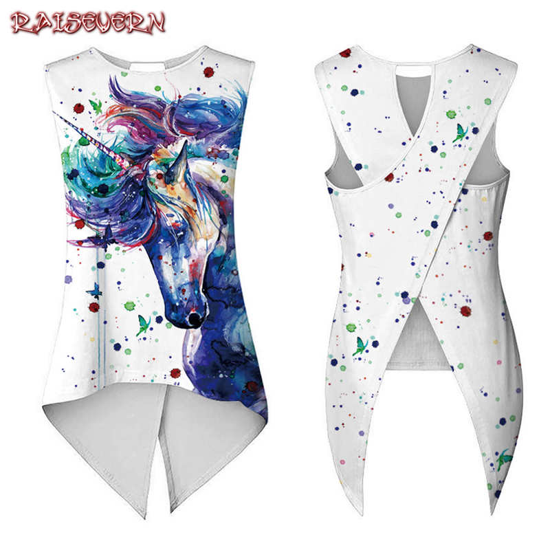 RAISEVERN 2018 Summer Women Camis   Tank     Tops   Rainbow Unicorn Horse Pigment Paint Printed Ladies Asymmetrical Bandage Slim Vest