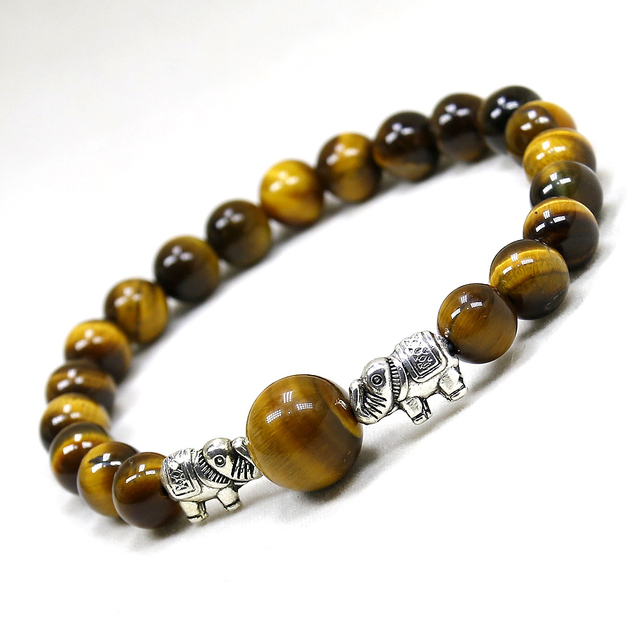 Bracelet Protection pierre Oeil de Tigre et éléphant