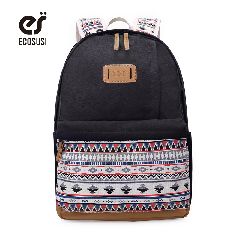 ECOSUSI New Women Canvas Backpack Schoolbags For Girl Teenagers Casual Travel Bags Rucksack Cute Printing Laptop