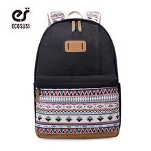 Ecosusi новые женские парусиновые рюкзак ранцы для девочек подростков Повседневная Дорожные сумки рюкзаки с милым принтом ноутбука Рюкзаки