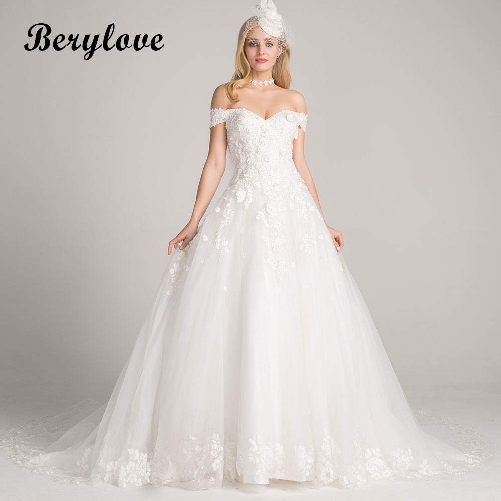 BeryLove A Line White Wedding Dresses 2018 Long Off Shoulder Pearls Flowers Wedding Gowns China Women Lace Wedding Gowns