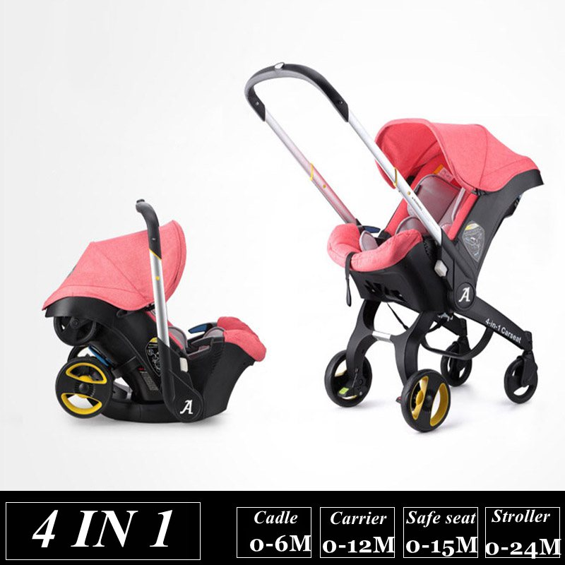 4 In 1 Baby Stroller Newborn Baby Bassinet Cradle Type Child Safety Seat Baby Carriage Basket Baby Car Travel Fold Pram 3 In 1 babysing baby car safety seat sleeping basket portable newborn baby carrier basket safety car seat cradle for baby 0 12 m