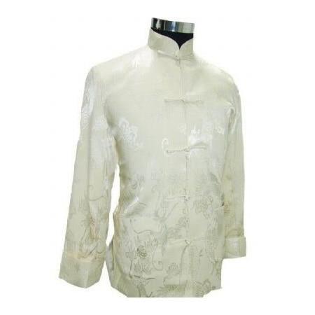 Autumn New Beige Men Silk Satin Jacket Chinese Style Kung Fu Coat Vintage Totem Outwear Size S M L XL XXL XXXL MJ070