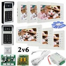 6 Apartments 2 HD 700lines Cameras Code And RFID Cards Unlock 6 Monitors 7″ LCD Video Intercom System DoorPhone Door bells