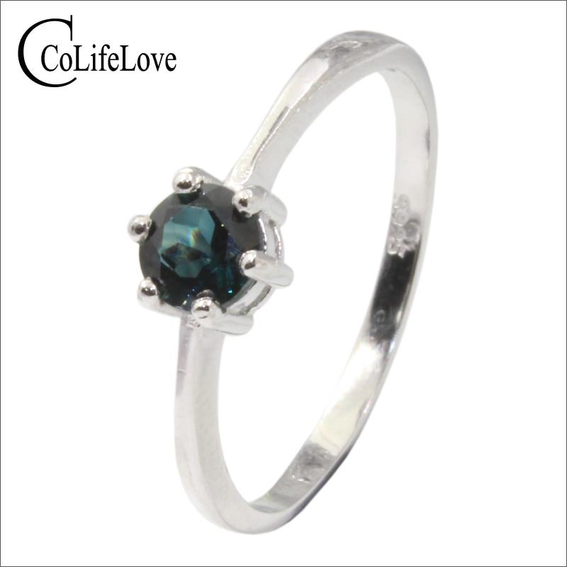 100% bague en argent saphir vert bleuté naturel pour fiançailles 5mm VS grade bague en saphrie bijoux en argent saphir 925 massif