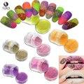 10g Jar Deslumbrante Colorido Açúcar Prego Pó Glitter Shinning 3D, Sequin Sexy Lady Gel Polonês Da Arte Do Prego Beleza #500-521