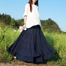 LZJN Elastic Hight Waist Maxi Bohemian Skirt for Women 2018 Summer Autumn Patchwork 5 Colors Vintage Deep Plaid Long Swing Skirt