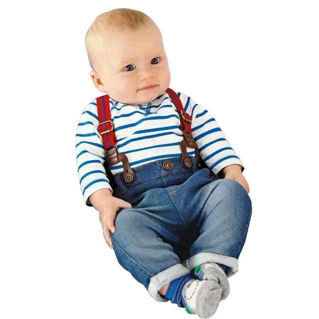 fcd64b957d52 High quality! baby boy Europe cowboy suit children s wear clothing Long  sleeve Stripe Tshirt+