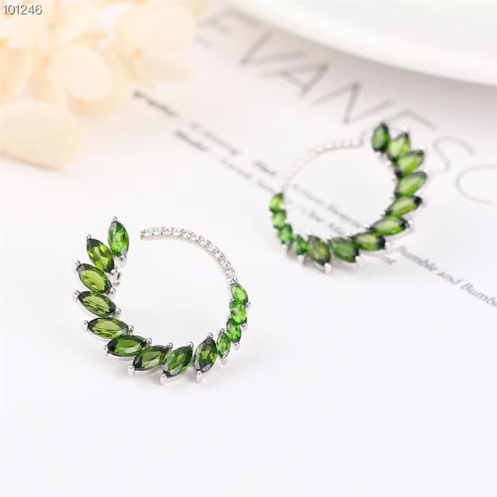 wholesale new designed 925 sterling silver natural green topaz earring necklace pendant jewelry set for women in Jewelry Sets from Jewelry Accessories