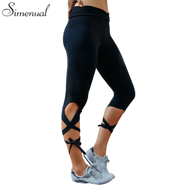 Harajuku bandage fitness women leggings 2016 hot sale strappy slim athleisure legging solid summer beach jegging sporty style