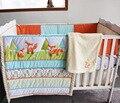 8 unidades del lecho del bebé bordado 3D pradera fox 100% algodón edredón bumper faldón manta Equipado ropa de cama cuna conjunto